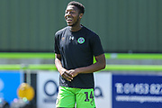 Forest Green Rovers Ebou Adams(14) warming up during the EFL Sky Bet League 2 match between Forest Green Rovers and Grimsby Town FC at the New Lawn, Forest Green, United Kingdom on 17 August 2019.