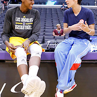 08 August 2014: Los Angeles Sparks forward/center Sandrine Gruda (7) and Atlanta Dream guard Celine Dumerc (9) are seen prior to the Los Angeles Sparks 80-77 overtime win over the Atlanta Dream, at the Staples Center, Los Angeles, California, USA.