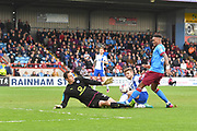 Scunthorpe United forward Ivan Toney (24) scores his second  goal to go 3-0 during the EFL Sky Bet League 1 match between Scunthorpe United and Chesterfield at Glanford Park, Scunthorpe, England on 17 April 2017. Photo by Ian Lyall.