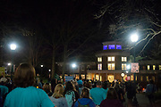 Students, staff, faculty and community members participate in the 2019 Take Back The Night march and rally. Photo by Hannah Ruhoff