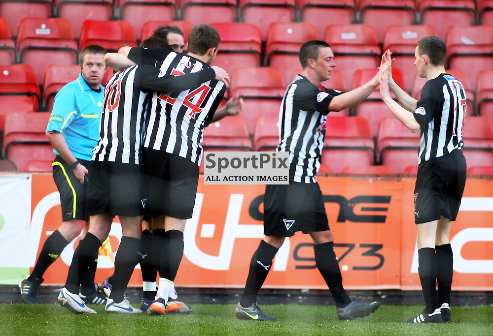 The Clydesdale Bank Scottish Premier League, Season 2011/12.Dunfermline Athletic Football Club v Aberdeen Football Club .28-04-12...Andy Kirk makes it 3-0 in this Afternoons Clydesdale Bank Scottish Premier League game between Dunfermline Athletic FC and Aberdeen FC..At East End Park Stadium, Dunfermline...Picture, Craig Brown ..Saturday 28th April 2012...CRAIG BROWN | STOCKPIX.EU