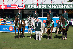 Team Ireland second in the BMO Nations Cup<br /> Shane Sweetnam, Jennifer Crooks, Andrew Bourns, Shane Breen, Robert Splaine (chef d'equipe)<br /> Spruce Meadows Masters - Calgary 2012<br /> © Dirk Caremans