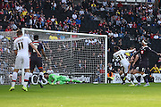 Milton Keynes Dons midfielder Josh Murphy scores to make it 1-1 during the Sky Bet Championship match between Milton Keynes Dons and Derby County at stadium:mk, Milton Keynes, England on 26 September 2015. Photo by David Charbit.