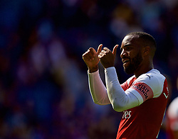 CARDIFF, WALES - Sunday, September 2, 2018: Arsenal's Alexandre Lacazette celebrates after a 3-2 victory during the FA Premier League match between Cardiff City FC and Arsenal FC at the Cardiff City Stadium. (Pic by David Rawcliffe/Propaganda)