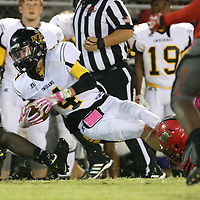 Lauren Wood | Buy at photos.djournal.com<br /> Itawamba's Lane Domino is tackled by Shannon's Cameron Buck during Friday night's game at Shannon.