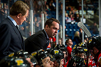 KELOWNA, BC - MARCH 03: Portland Winterhawks' associate coach and assistant GM, Kyle Gustafson, stands on the bench speaking to players against the Kelowna Rockets at Prospera Place on March 3, 2019 in Kelowna, Canada. (Photo by Marissa Baecker/Getty Images)