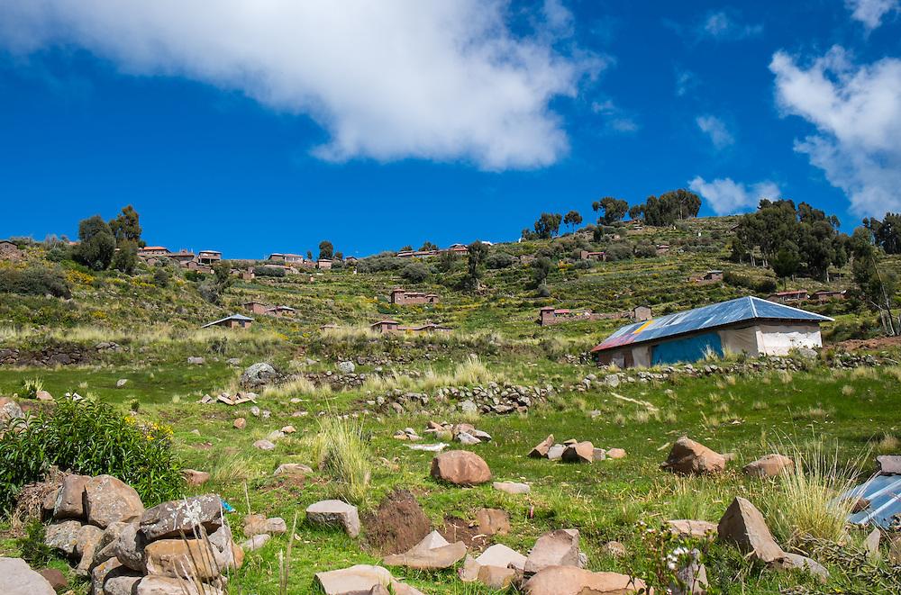 View of house  in Taquile Island in Lake Titicaca, Peru.