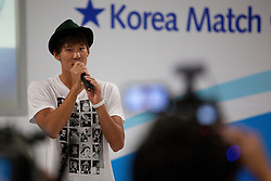 Korean Olympic swimming gold medalist Taewhan Park speaking at a function at the Korea Match Cup 2009, Gyeonggi-do, Korea. 2 June 2009.
