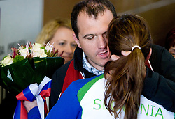 Slovenian bronze medalist cross-country skier Petra Majdic with her brother Gregor  at arrival to Airport Joze Pucnik from Vancouver after Winter Olympic games 2010, on March 1, 2010 in Brnik, Slovenia. (Photo by Vid Ponikvar / Sportida)
