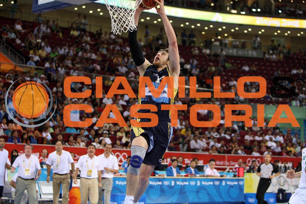 DESCRIZIONE : Beijing Pechino Olympic Games Olimpiadi 2008 Final Bronze Medal 3-4 posto place Lithuania Argentina <br /> GIOCATORE : Andres Nocioni <br /> SQUADRA : Argentina <br /> EVENTO : Olympic Games Olimpiadi 2008<br /> GARA : Lituania Argentina <br /> DATA : 24/08/2008 <br /> CATEGORIA : Schiacciata <br /> SPORT : Pallacanestro <br /> AUTORE : Agenzia Ciamillo-Castoria/E.Castoria <br /> Galleria : Beijing Pechino Olympic Games Olimpiadi 2008 <br /> Fotonotizia : Beijing Pechino Olympic Games Olimpiadi 2008 Final Bronze Medal 3-4 posto place Lithuania Argentina <br /> Predefinita :