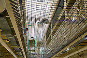 The suicide netting of Benbow wing inside HMP/YOI Portland, a resettlement prison with a capacity for 530 prisoners. Dorset, United Kingdom.