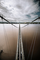 Humber Bridge, Hessle, East Yorkshire, United Kingdom, 15 July, 2015. Pictured: Views from the north tower of the Humber Bridge
