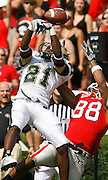UAB DB Kevin Sanders breaks up a pass attempt to Georgia SE Kenneth Harris during the game between the University of Georgia Bulldogs and University of Alabama-Birmingham (UAB) Blazers at Sanford Stadium in Athens, GA on September 16, 2006.  The Bulldogs beat the Blazers 34-0.