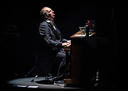 Hans Zimmer plays the piano during his performance with his full orchestra at the Park Theater in the Monte Carlo on Friday, April 21, 2017.      L.E. Baskow