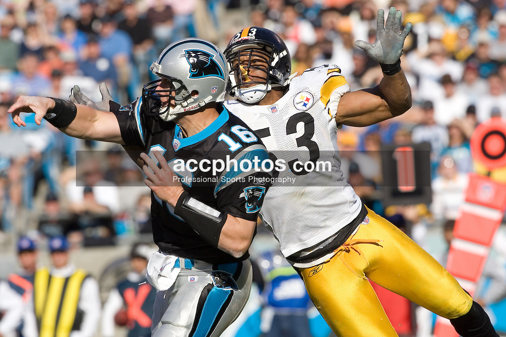 Dec. 17, 2006; Charlotte, NC, USA; Pittsburgh Steelers linebacker (53) Clark Haggans pressures Carolina Panthers quarterback (16) Chris Weinke at Bank of America Stadium in Charlotte.<br />