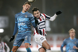 (L-R), Reuven Niemeijer of Heracles Almelo, Pedro Chirivella of Willem II during the Dutch Eredivisie match between Willem II Tilburg and Heracles Almelo at Koning Willem II stadium on December 02, 2017 in Tilburg, The Netherlands