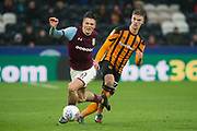 Aston Villa Midfielder Jack Grealish is fouled by Markus Henriksen of Hull City during the EFL Sky Bet Championship match between Hull City and Aston Villa at the KCOM Stadium, Kingston upon Hull, England on 31 March 2018. Picture by Craig Zadoroznyj.