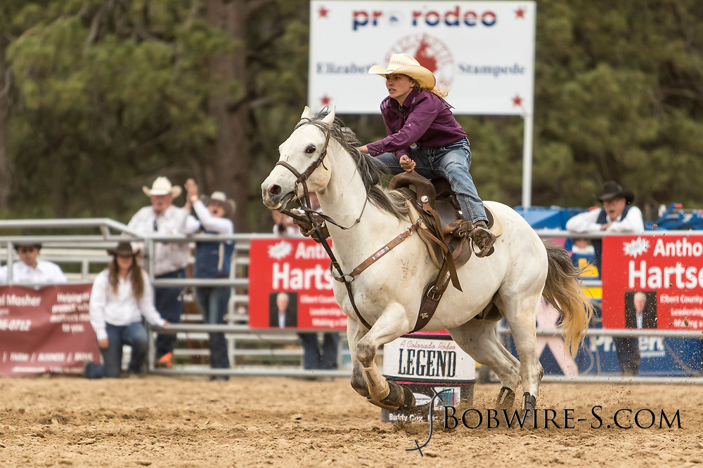 Nicole Waggoner makes her barrel racing run during the third performance of the Elizabeth Stampede on Sunday, June 3, 2018.