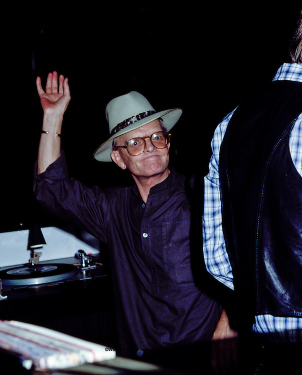 Truman Capote in the dj's booth at Studio 54 New York, NY