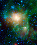 This latest image from NASA's WISE shows three different nebulae located in the constellation of Perseus. NGC 1491 is seen on the right side of the image, SH 2-209 is on the left side and BFS 34 lies in between.