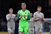 Craig MacGillivray (1) of Portsmouth applauds the travelling fans at full time during the EFL Sky Bet League 1 match between Bristol Rovers and Portsmouth at the Memorial Stadium, Bristol, England on 26 October 2019.