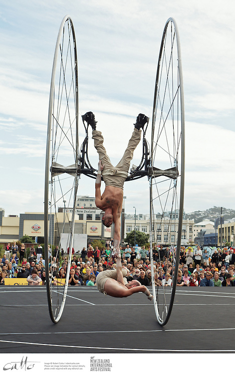 French trapeze artists Maxim Bourdon and Sebastien Bruas perform their show Arcane at Waitangi Park in Wellington, as part of the New Zealand International Arts Festival.
