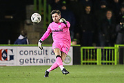 Forest Green Rovers goalkeeper James Montgomery during the The FA Cup 1st round replay match between Forest Green Rovers and Oxford United at the New Lawn, Forest Green, United Kingdom on 20 November 2018.