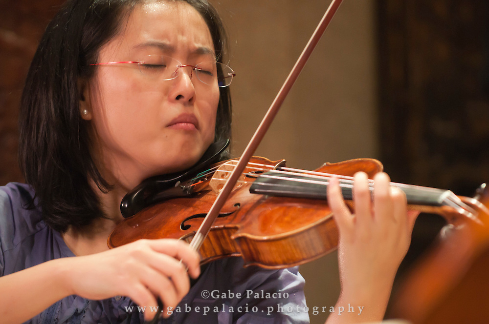 Ying Xue, violin, during the Rising Stars rehearsals at Caramoor in Katonah, New York.(Photo by Gabe Palacio)