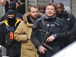 © Licensed to London News Pictures. 07/01/2016. France, Paris. A heavy armed police precence can be seen in Barbes, Northern Paris after police shot a man dead who threatened officers with a knife and as they now know a fake suicide belt. Today January 7th 2016. Photo credit: Hugo Michiels/LNP