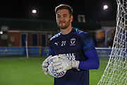 AFC Wimbledon goalkeeper Joe Day (21) warming up during the EFL Sky Bet League 1 match between AFC Wimbledon and Burton Albion at the Cherry Red Records Stadium, Kingston, England on 28 January 2020.