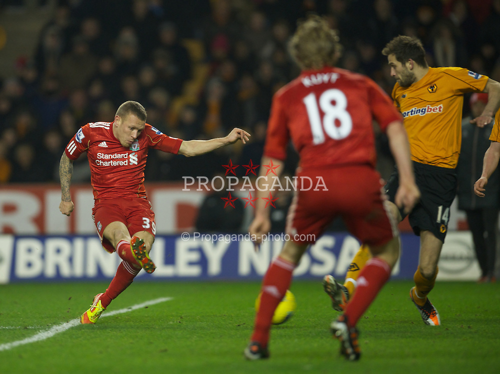 WOLVERHAMPTON, ENGLAND - Tuesday, January 31, 2012: Liverpool's Craig Bellamy scores the second goal against Wolverhampton Wanderers during the Premiership match at Molineux. (Pic by David Rawcliffe/Propaganda)