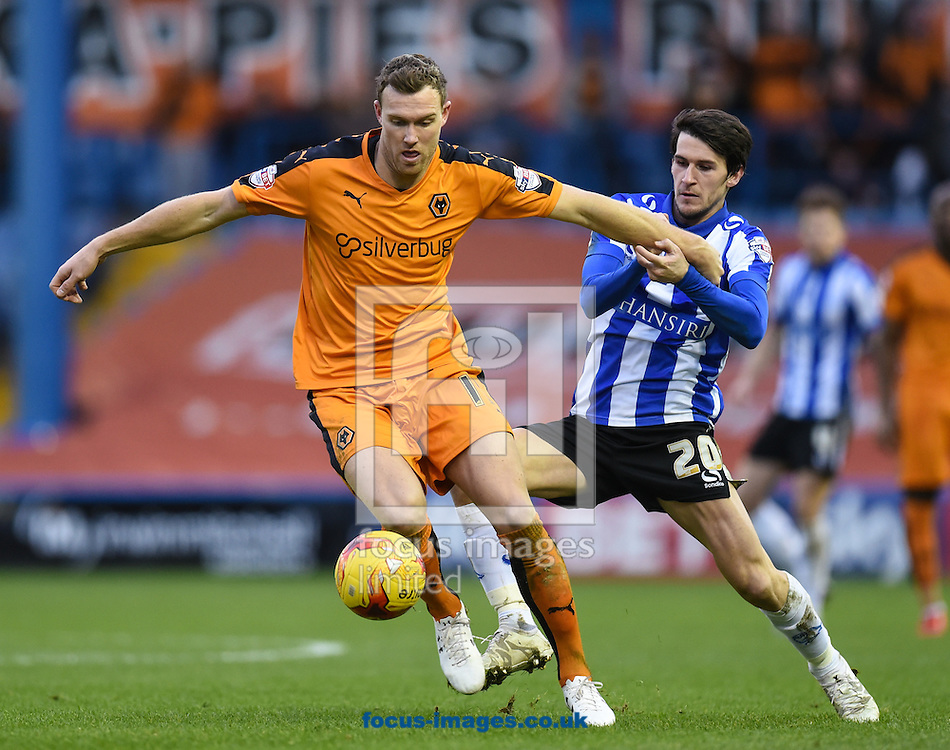 Kieran Lee of Sheffield Wednesday and Kevin McDonald of Wolverhampton Wanderers during the Sky Bet Championship match at Hillsborough, Sheffield<br /> Picture by Richard Land/Focus Images Ltd +44 7713 507003<br /> 20/12/2015
