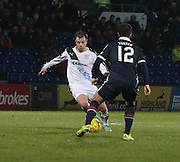 Dundee&rsquo;s Paul McGowan takes on Ross County&rsquo;s Richard Foster - Ross County v Dundee, Ladbrokes Premiership at Victoria Park<br /> <br />  - &copy; David Young - www.davidyoungphoto.co.uk - email: davidyoungphoto@gmail.com