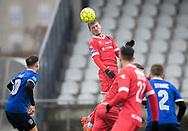 FODBOLD: Nicolas Mortensen (FC Helsingør) får dirigeret bolden mod mål under træningskampen mellem Fremad Amager og FC Helsingør den 2. februar 2019 i Sundby Idrætspark. Foto: Claus Birch