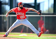 Angels' pitcher Matt Shoemaker throws to live batters during workouts at the Angels' Spring Training facility in Tempe, AZ on Wednesday, February 22, 2017. (Photo by Kevin Sullivan, Orange County Register/SCNG)