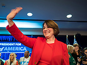 03 FEBRUARY 2020 - DES MOINES, IOWA: US Senator AMY KLOBUCHAR (D-MN) waves goodbye before leaving her caucus night party at the downtown Marriott Hotel in Des Moines. The party was her last Iowa appearance of the primary season. Iowans made the first presidential selection picks of the 2020 election campaign with the Iowa caucuses Monday night.    PHOTO BY JACK KURTZ