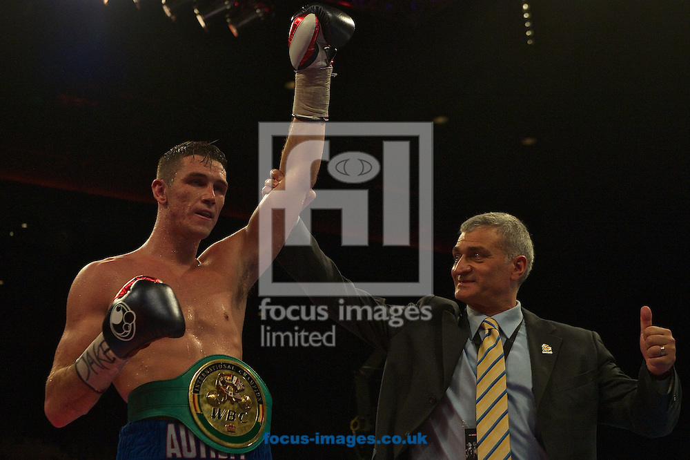 Callum Smith (white shorts) after beating Vladine Biosse<br /> (black shorts) during their WBC International Super-Middleweight Championship bout at Echo Arena, Liverpool<br /> Picture by Ian Wadkins/Focus Images Ltd +44 7877 568959<br /> 12/07/2014