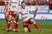 Hull Kingston Rovers stand off Danny McGuire (7) appeals to the referee during the Betfred Super League match between Hull Kingston Rovers and Leeds Rhinos at the Lightstream Stadium, Hull, United Kingdom on 29 April 2018. Picture by Simon Davies.