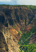 Aerial view of Waimea Canyon, Kauai, Hawaii on a cloudy day.