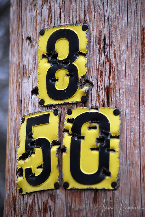 The numbers 850 mark a utility pole