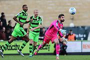 Forest Green Rovers goalkeeper Sam Russell(23) throws the ball out during the Vanarama National League match between Forest Green Rovers and Lincoln City at the New Lawn, Forest Green, United Kingdom on 19 November 2016. Photo by Shane Healey.