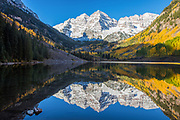Maroon Bells Reflected in Maroon Lake in Fall