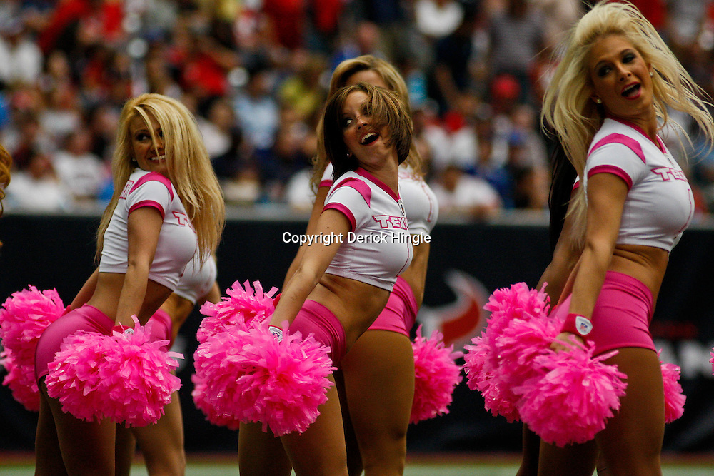 October 10, 2010; Houston, TX USA; Houston Texans cheerleaders perform during a game between the Houston Texans and the New York Giants at Reliant Stadium. Mandatory Credit: Derick E. Hingle