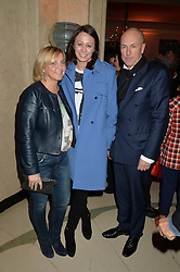Left to right, JANE BOARDMAN, CAROLINE RUSH and DYLAN JONES at a reception hosted by The Rake Magazine and Claridge's to celebrate London Collections 2015 held at Claridge's, Brook Street, London on 8th January 2015.