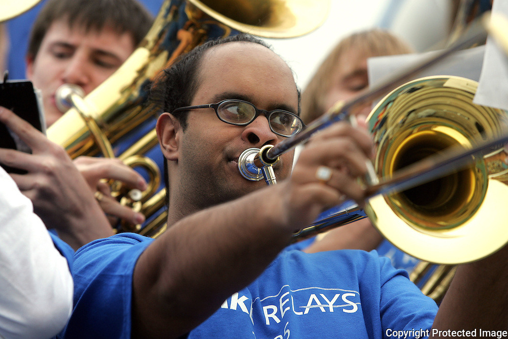 A Drake trombone player makes noise at the annual Drake Relays.  The Drake pep band played during opening ceremonies.  photo by david peterson