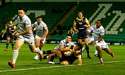 Will Butler of Worcester Warriors scores a try - Mandatory by-line: Robbie Stephenson/JMP - 28/07/2017 - RUGBY - Franklin's Gardens - Northampton, England - Worcester Warriors v Bath Rugby - Singha Premiership Rugby 7s