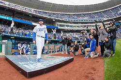 March 29, 2018 - Kansas City, MO, U.S. - KANSAS Kansas City, MO - MARCH 29: Photographers watch Kansas City Royals third baseman Mike Moustakas (8) take the field prior to the major league opening day game against the Chicago White Sox on March 29, 2018 at Kauffman Stadium in Kansas City, Missouri. (Photo by William Purnell/Icon Sportswire) (Credit Image: © William Purnell/Icon SMI via ZUMA Press)