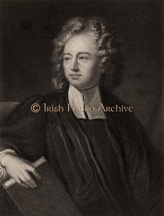 Richard Bentley (1662-142) English classical scholar and philologist. Master of Trinity College, Cambridge. Lampooned by Jonathan Swift in 'The Battle of the Books' (1704).  From 'The Gallery of Portraits', Vol III, by Charles Knight (London, 1834).