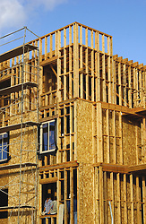 wood framing on multi-unit building