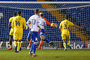 AFC Wimbledon goalkeeper George Long (1), on loan from Sheffield United, can't stop the effort from Bury forward George Miller (19), on loan from Middlesbrough, as he scores to make the score 1-0 during the EFL Sky Bet League 1 match between Bury and AFC Wimbledon at the JD Stadium, Bury, England on 6 February 2018. Picture by Simon Davies.